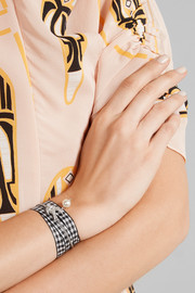 Miu Miu Silver-tone, Swarovski crystal, faux pearl and gingham cotton bracelet