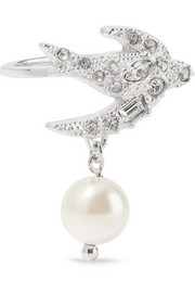 Silver-plated, Swarovski crystal and faux pearl ring
