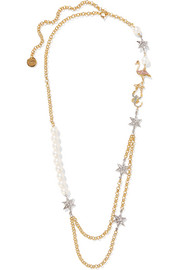 Miu Miu Gold-plated, faux pearl and crystal necklace