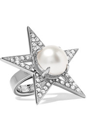 Silver-plated, crystal and faux pearl ring