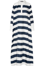 Oversized striped silk-twill kaftan