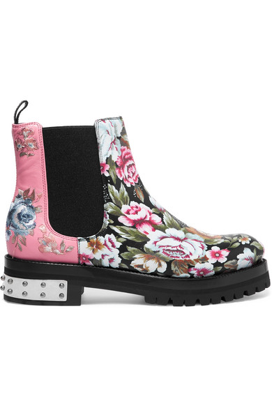 Alexander McQueen - Embroidered Printed Leather Chelsea Boots - Pink