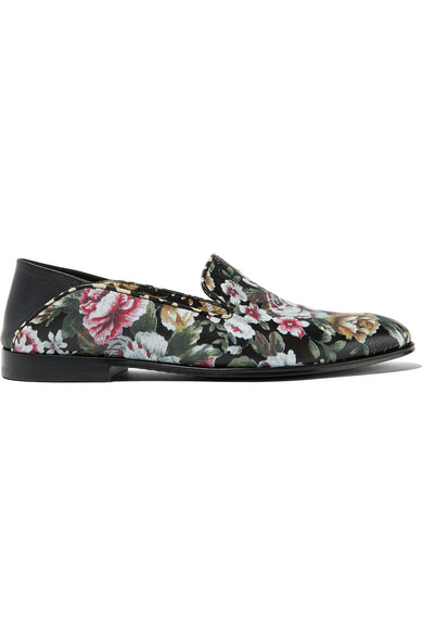 Alexander McQueen - Floral-print Leather Loafers - Black