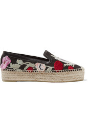 Leather-trimmed embroidered canvas espadrilles