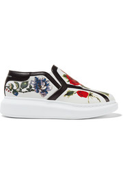 Floral-print leather slip-on sneakers