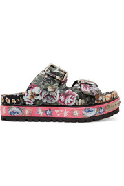 Floral-print leather sandals