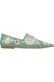 Embroidered leather point-toe flats