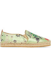 Embroidered satin espadrilles