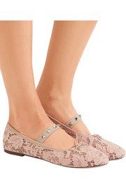 Valentino Studded corded lace ballet flats