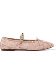 Studded corded lace ballet flats