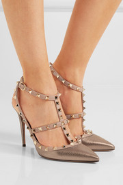 Valentino Rockstud metallic textured-leather pumps