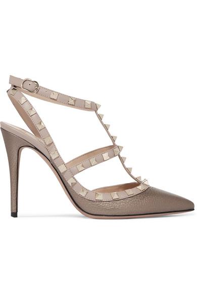 Valentino - Rockstud Metallic Textured-leather Pumps - Bronze