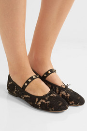 Valentino Studded corded lace flats