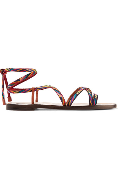 buy cheap fashionable Valentino Embroidered Leather Sandals sale fake sale lowest price 0TIxRiFA89