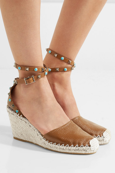 Valentino Textured Leather Espadrille Wedge Sandals