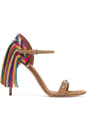 Valentino Rockstud Rolling fringed suede sandals