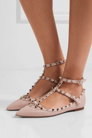 Valentino Rockstud textured-leather point-toe flats