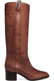 Valentino Embossed leather knee boots