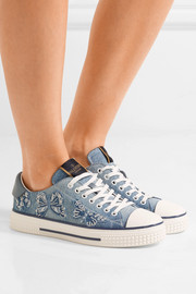 Valentino Appliquéd denim sneakers
