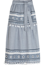 Embellished lace-trimmed cotton-jacquard skirt