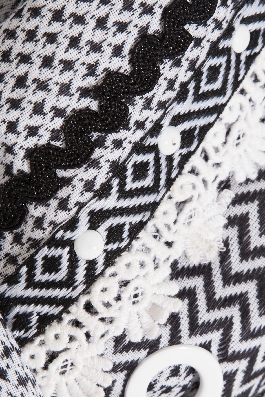 Dodo Bar Or Embellished lace-trimmed cotton-jacquard kimono