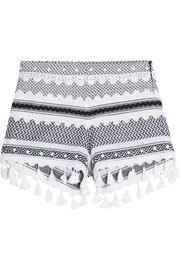 Embellished lace-trimmed cotton-jacquard shorts