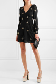 Saint Laurent Embellished silk-georgette mini dress