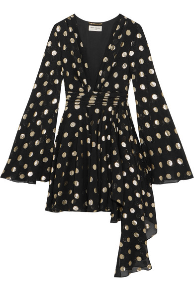 Saint Laurent - Asymmetric Polka-dot Fil Coupé Silk-blend Georgette Wrap Mini Dress - Black