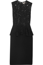 Saint Laurent Lace and wool-blend peplum dress