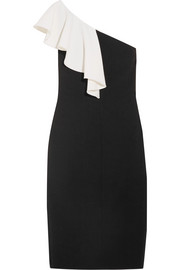 One-shoulder ruffled wool-blend crepe dress