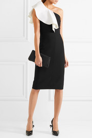 Saint Laurent One-shoulder ruffled wool-blend crepe dress