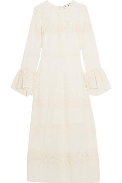 Saint Laurent - Ruffled Broderie Anglaise Georgette Midi Dress - White