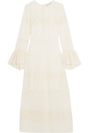 Ruffled broderie anglaise georgette midi dress