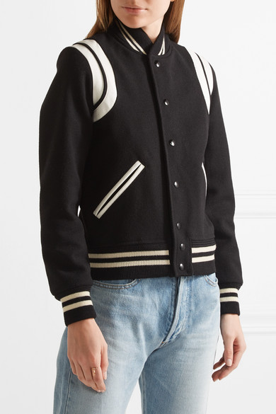 Saint Laurent Bomberjacket From A Wool Blend With Leather Trim