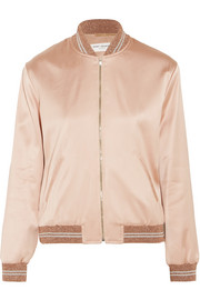 Embellished satin bomber jacket