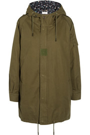 Hooded cotton and ramie-blend gabardine parka