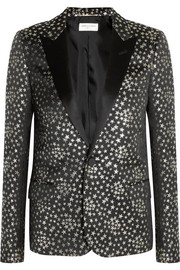 Saint Laurent Satin-trimmed jacquard blazer