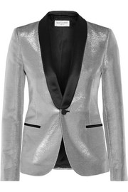 Saint Laurent Satin-trimmed lamé tuxedo blazer