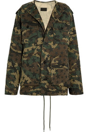 Hooded camouflage-print cotton-canvas parka