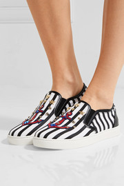 Dolce & Gabbana Embellished striped textured-leather slip-on sneakers