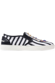Embellished striped textured-leather slip-on sneakers