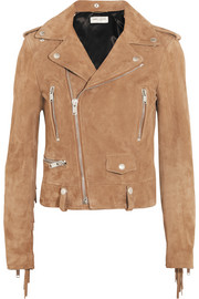 Saint Laurent Fringed suede biker jacket