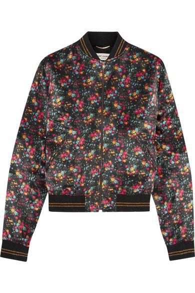 a2702e7175c SAINT LAURENT | Floral-print satin bomber jacket | NET-A-PORTER.COM
