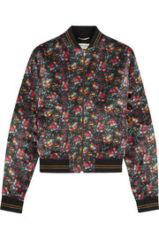 Saint Laurent Floral-print satin bomber jacket