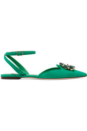 Dolce & Gabbana Bellucci crystal-embellished suede point-toe flats