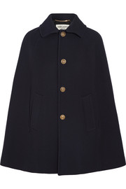 Wool-blend twill cape