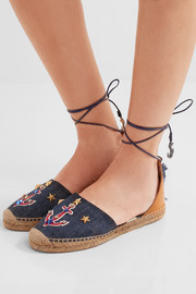 Dolce & Gabbana Raffia-trimmed embellished denim and leather espadrilles