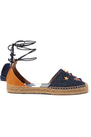 Raffia-trimmed embellished denim and leather espadrilles