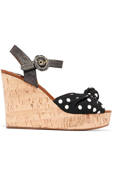 dolce gabbana female dolce gabbana cady and raffia wedge sandals black