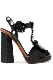 Dolce & Gabbana Embellished raffia and leather platform sandals